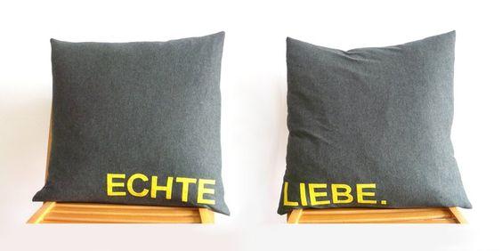 Kissenbezug Kissenhülle 50x50 Echte Liebe.  True Love.