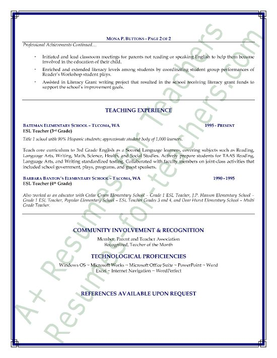 ESL Teacher Resume Sample - Page 1 Teacher, Language and - esl teacher sample resume