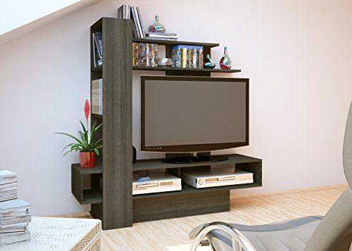Amazon Com Trasman 4011 Contemporary Sky Tv Wall Unit Gray