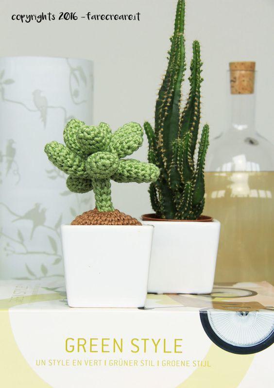 Pianta grassa a uncinetto succulenta con schema gratis.  uncinetto e fettuccia  Pinterest ...