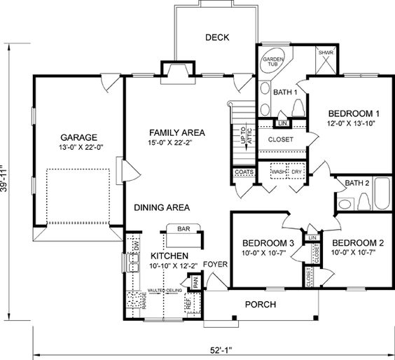 3br 2ba on a single level under 1400 sq ft house plans