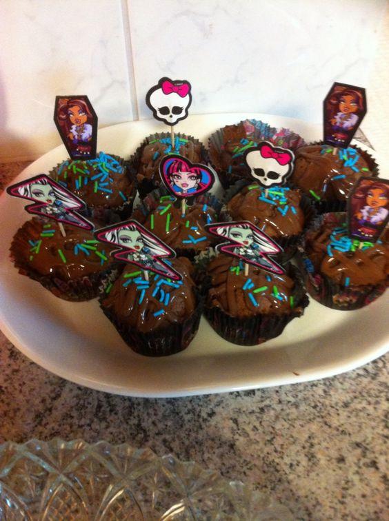 Monster high chocoladecupcakes
