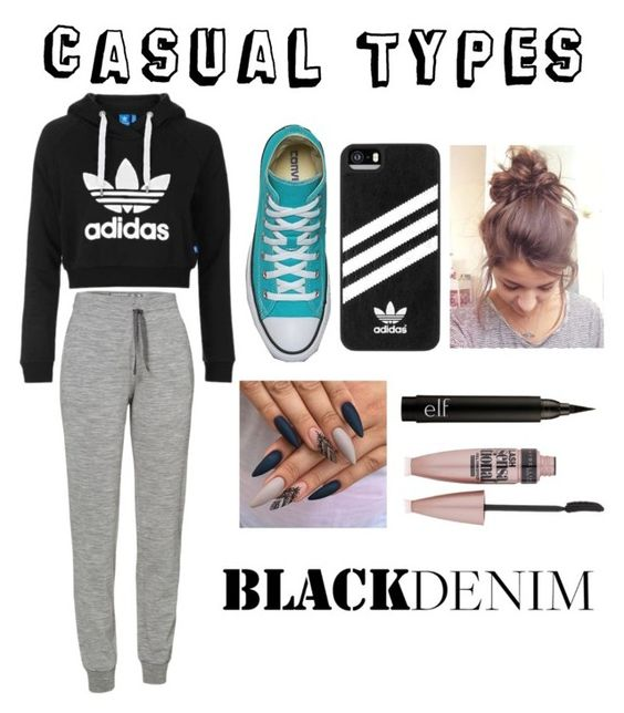 """""""casual types"""" by ks128854 ❤ liked on Polyvore featuring Topshop, Icebreaker, adidas and Maybelline"""