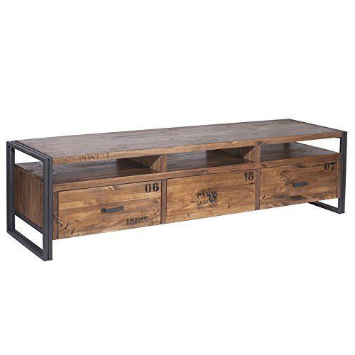 Indhouse mueble de tv estilo industrial en metal y for Muebles tv industrial