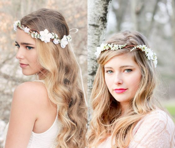 thin flower crown bridal hairstyles