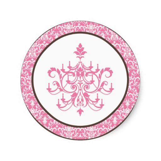 "20 - 1.5"" Favor Stickers Pink Chandelier"