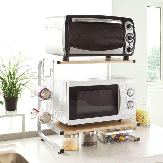 SoBuy FRG092-N Meuble rangement cuisine de service en bois, étagère micro ondes, mini-étagère: Amazon.fr: Cuisine & Maison