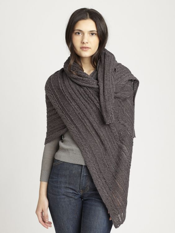 Travelling Cable Wrap | Women's Wrap - INHABIT - Travelling Cable Wrap
