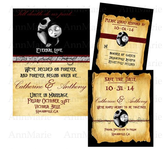 Nightmare Before Christmas Wedding Invitation:
