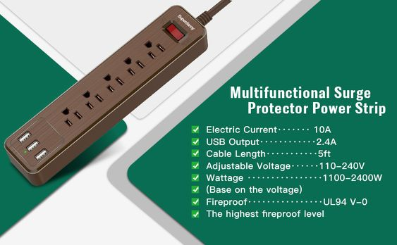 Superdanny Usb Surge Protector Power Strip Brown Power Strip Usb Extension Cord