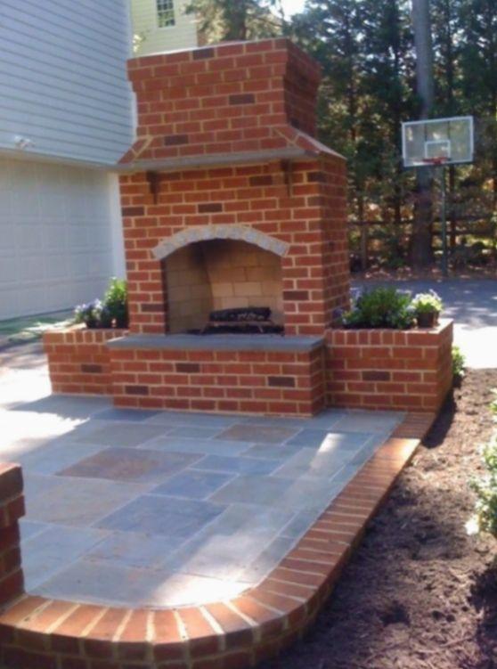 Patio Fireplace Backyard, Diy Brick Patio Fireplace