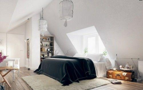 ideen schlafzimmer eklektisch schwarze bettdecke weißer teppich - schlafzimmer ideen dachschräge