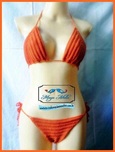"""Biquíni de crochê confeccionado com linha 100% poliamida,linha ideal para praia ,que proporciona Conforto e modelagem perfeita .  Preço refere_ se aos tamanho """"P"""" e """"M""""  Varias opções de cores  Consulte cores Aqui http://www.elo7.com.br/variants.do?command=all R$ 89,90"""