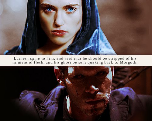 """""""Ere [Sauron's] foul spirit left its dark house, Luthien came to him, and said that he should be stripped of his raiment of flesh, and his ghost be sent quaking back to Morgoth; and she said: 'There everlastingly thy naked self shall endure the torment of his scorn, pierced by his eyes, unless thou yield to me the mastery of thy tower.' Then Sauron yielded himself, and Luthien took the mastery of the isle and all that was there."""""""
