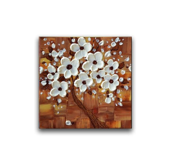Cherry blossom tree painting original modern artwork by ZarasShop