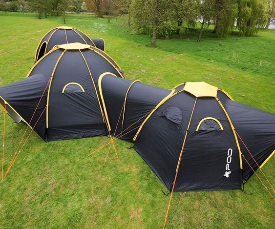 OK, all you Camping Doughnut enthusiasts (and whiners and foot stampers lamenting that it's still only a concept), here's an almost-as-cool and exponentially-more-real alternative for you: Pod Tents. If you've got the cash, grab a grip of Pod Tent segm