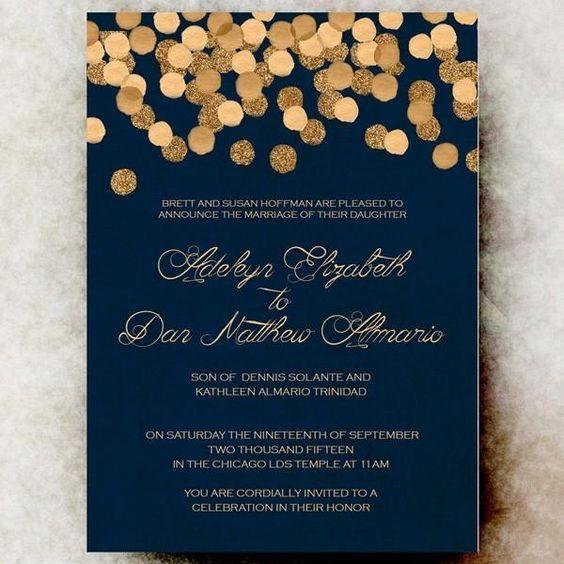 navy and gold winter wedding invitation  @myweddingdotcom