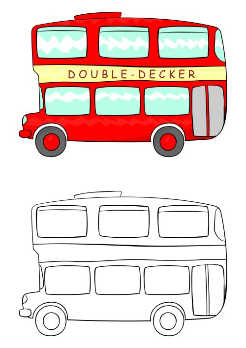 double decker bus coloring pages - photo#22