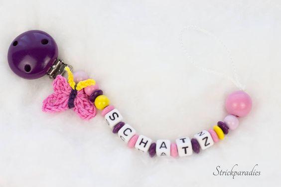 Schatz - Schnullerkette mit Schmetterling. Wunschnamen _085