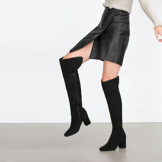 Image 2 of OVER THE KNEE HIGH HEEL LEATHER BOOTS from Zara 8990