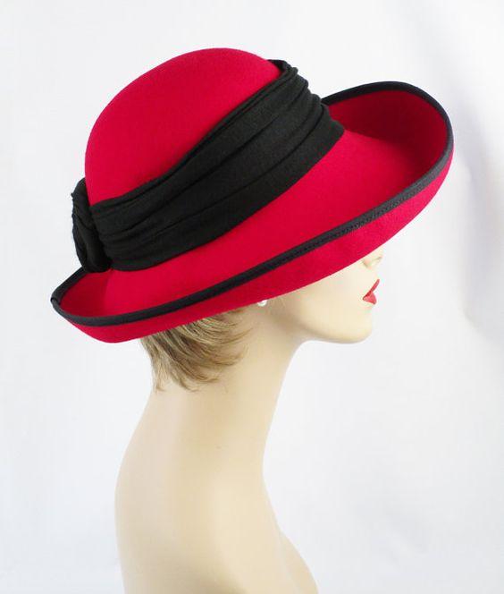 80s Hat Bright Red Wool Upturned Scrunch Brim by alleycatsvintage