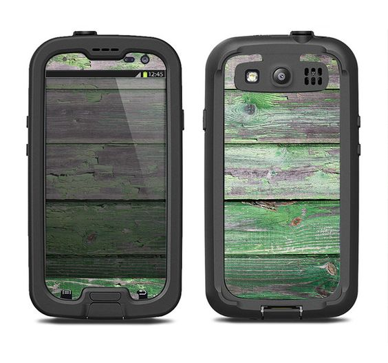 The Wooden Planks with Chipped Green Paint Samsung Galaxy S3 LifeProof Fre Case Skin Set