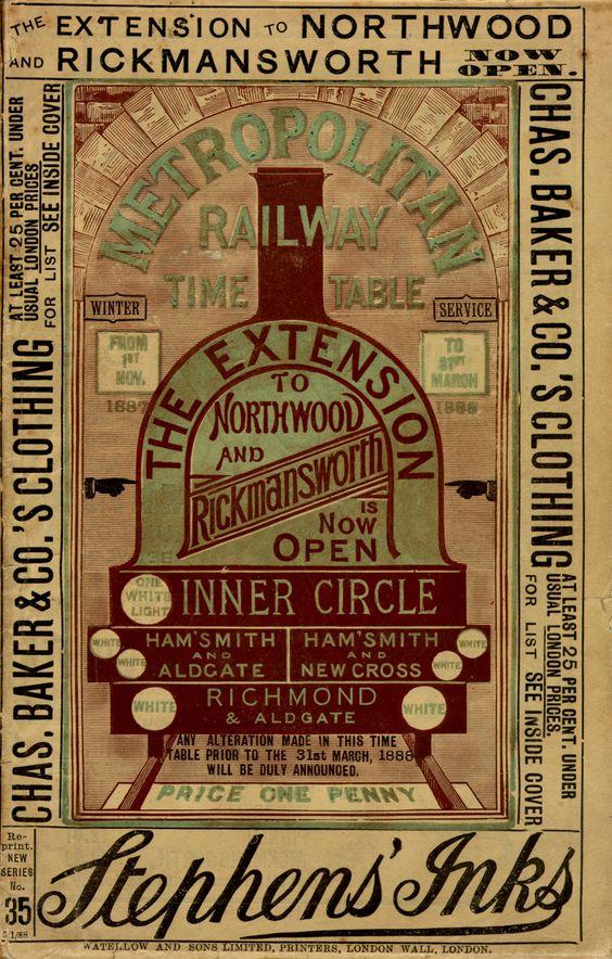 Vintage London Transport Museum poster: Timetable for the Metropolitan Railway