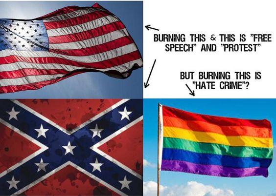 Burning gay flag