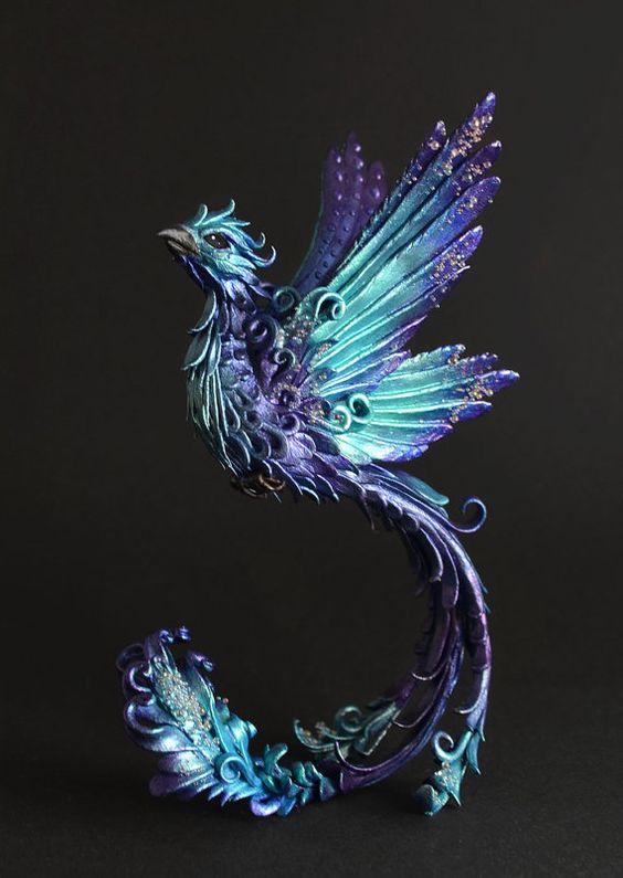 Phoenix sculpture phoenix figurine OOAK bird by MyOwnDragon