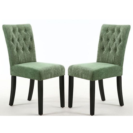 Oriel Dining Chair In Olive Green With Black Legs In A Pair