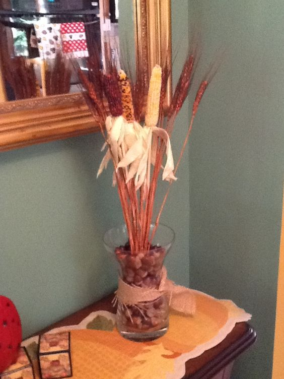 Dried wheat and mini  Fall Cobs!  May need a small bow?
