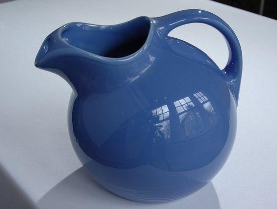 Water Juice Refrigerator Pitcher Blue Hull Fiesta Ware Style Drink Pitcher Ocean Blue Water Jug Sunflower Vase Utensil Gadget Holder by SeRepete on Etsy