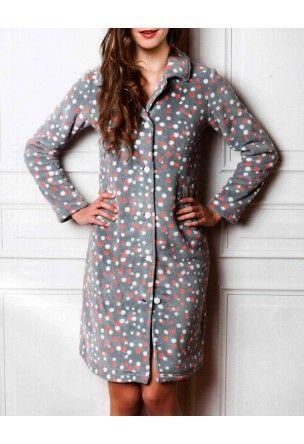 Robe de chambre grise boutonn e flocon 2 robe de chambre confortable en polaire chaude et - Robe de chambre femme tres chaude ...