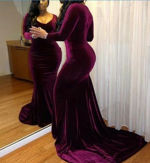 Sexy Mermaid Velvet Long Sleeves Prom Dresses 2017,Long Party Gowns, Velvet Evening Gowns