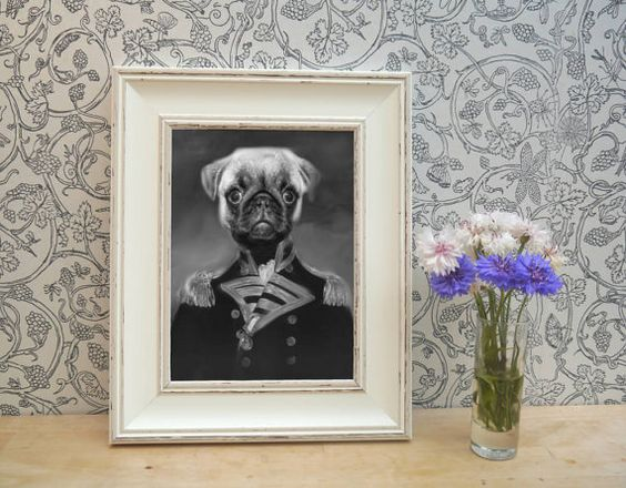 Black and White Pug Framed Pet Portrait Print by YourPetInUniform  Fantastic, unique gift for Pug fans