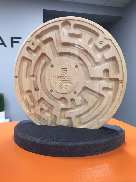 This maze was made for us ON a #STEPCRAFT and sent to us by the talented Roberto Rios of RVision! Beautiful work, Thank you Roberto! (Michelle's son loved playing with it at the Open House!) Thank you for the inspiration and motivation! www.stepcraft.us #wood #woodart #woodwork #woodworking #woodenart #woodcarving #cnc #create #Torrington #design #gamemakers #gamenight #gifts #giftsforhim #giftsforher #handmade