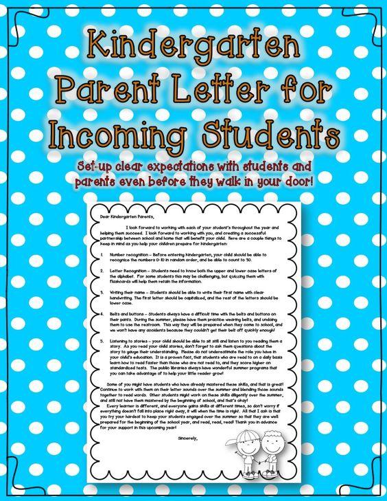 Kindergarten parent letters, Parent letters and