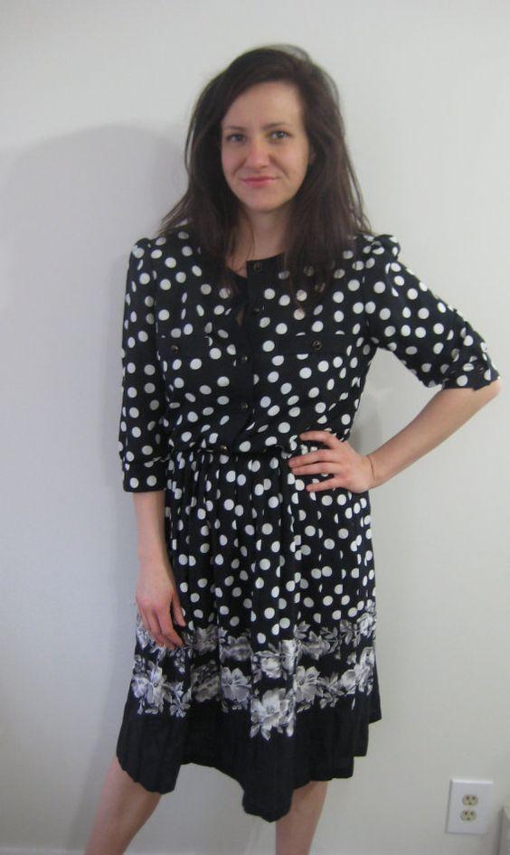 darling vintage black and white polka dot 80s secretary dress with
