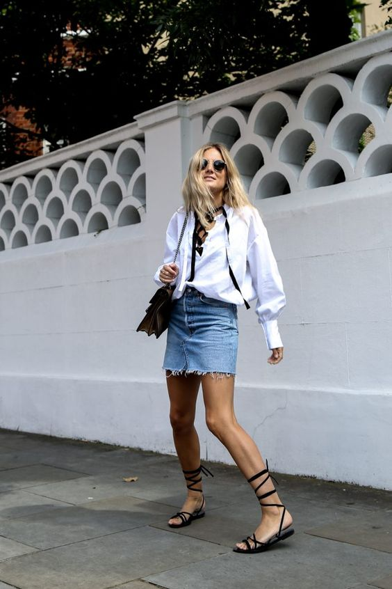 Denim mini skirt with blouse - denim minis coming back in a big way: