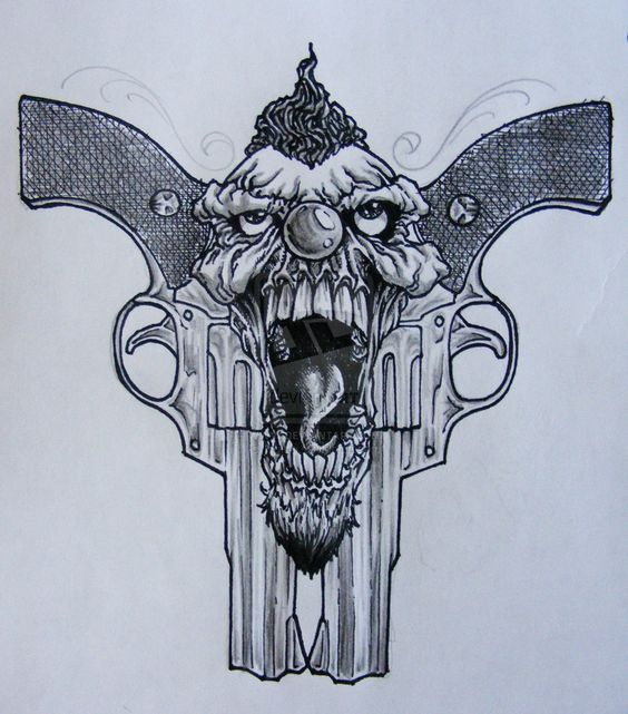 Skull And Guns Unfinished By Ifinch On Deviantart: Clown Tattoo, Clowns And Gun Tattoos On Pinterest