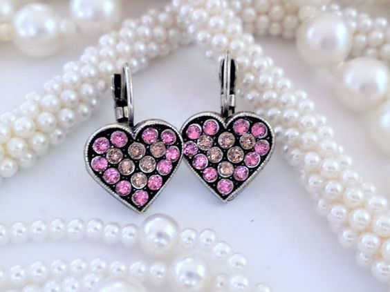 Swarovski Heart Lever Back Earrings, Antique Silver,Blush Rose,Rose,Dangles,Drops,Valentines Gift,DKSJewelrydesigns