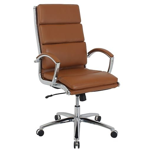 Global Manchester High Back Faux Leather Executive Chair Saddle Brown 80989h 1 Staples Office Chair Comfy Office Chair Chair