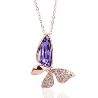 Butterfly Rose Gold Plated Swarovski Elements Necklace