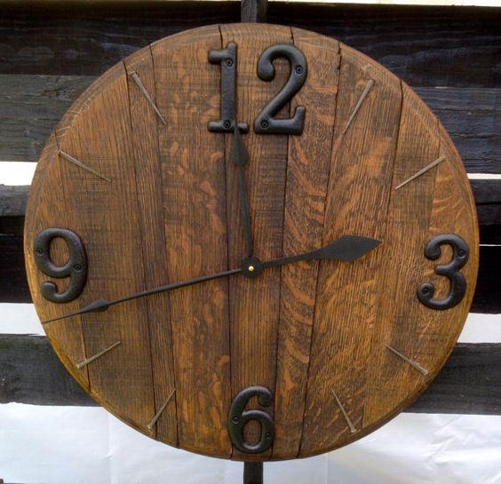 Bourbon Barrel Clock by BarnetteBarrels on Etsy, $125.00
