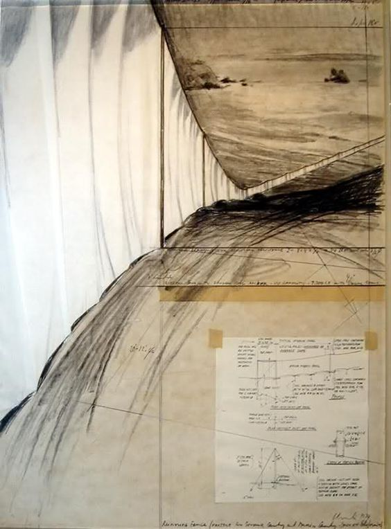 Christo and Jeanne-Claude, drawing for 'Running Fence'