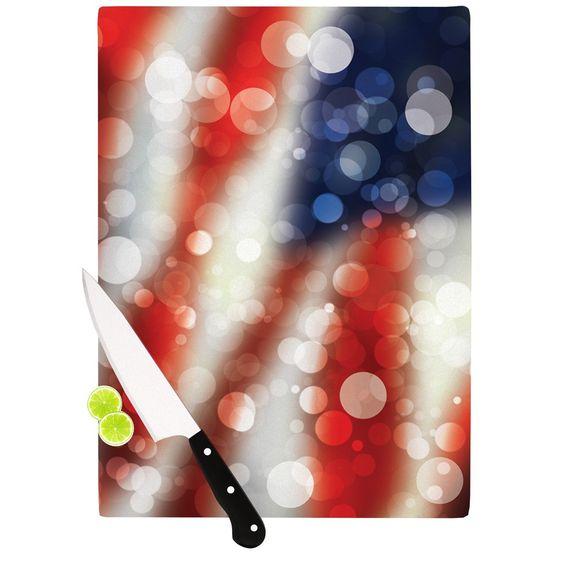 """KESS Original """"Patriot"""" America Bokeh Cutting Board"""