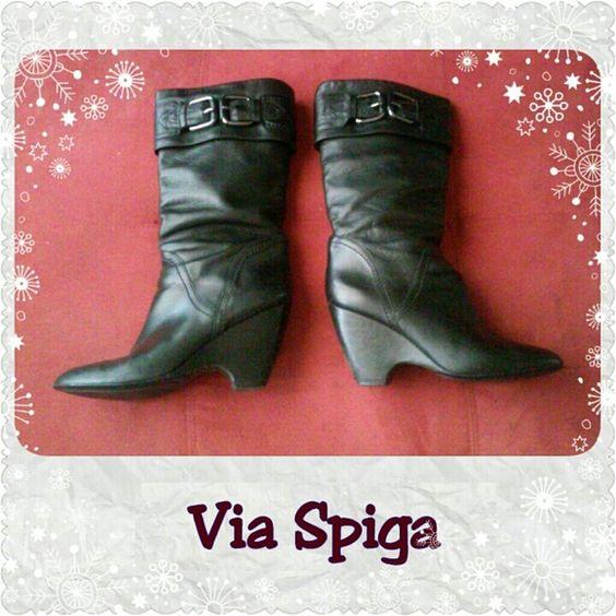 Selling this Via Spiga Black Leather Boots in my Poshmark closet! My username is: wonderhr. #shopmycloset #poshmark #fashion #shopping #style #forsale #Via Spiga #Shoes
