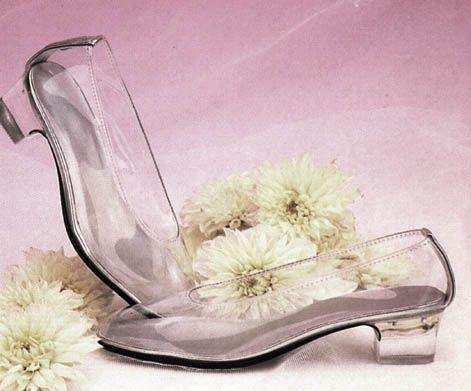 Children's bridal clear vinyl Cinderella slipper pumps. Only one ...