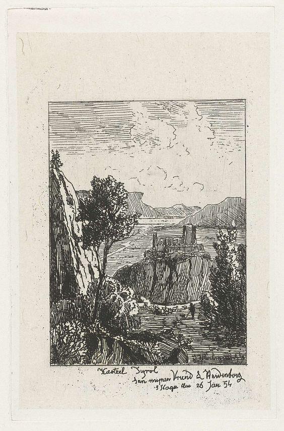 Joseph Hartogensis   Kasteel op een rots, Joseph Hartogensis, Lambertus Hardenberg (1822-1900), 1854  