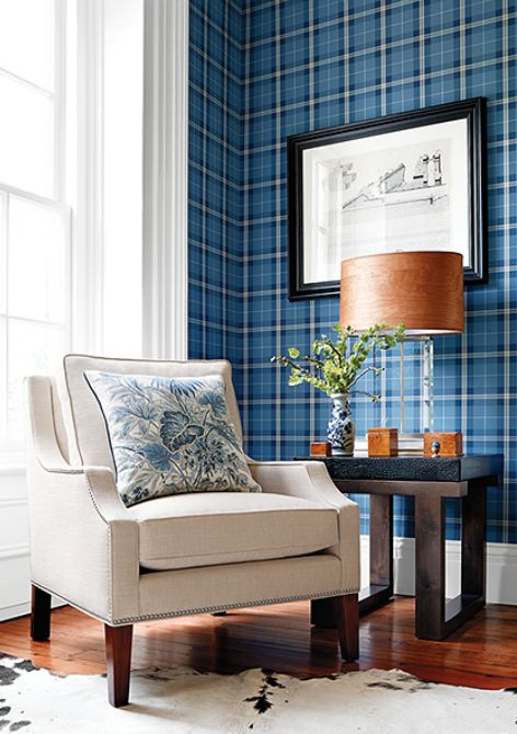 Blue Winslow Plaid/Thibaut fabrics and Wallpapers: